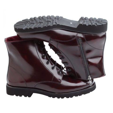 Botines burdeos de caña media para mujer de estilo militar inglés Joan. Hechos a mano en España por Beatnik Shoes
