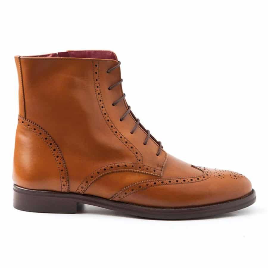 dbbd9cb9c20 Women's brown leather Oxford brogue boots lace up Barbara. Handmade ...