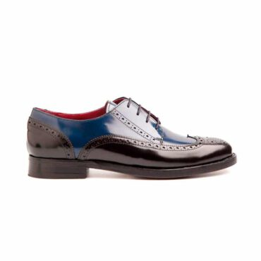 Zapato Brogue de cordones bicolor de mujer azul y negro Beatnik Ethel Black & Blue por Beatnik Shoes
