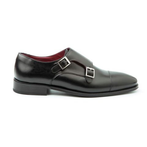Zapatos de dos hebillas negros para hombre hechos a mano en España por Beatnik PIC