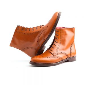 Classic Brown Brogue lace-up Oxford Boots Handmade by Beatnik Shoes