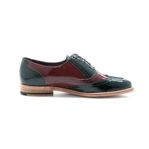 9d808f1a Zapato de mujer en estilo Oxford bicolor de charol verde y rojo Lena Green  on red