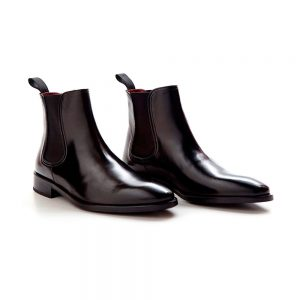 Black leather laceless boots for men Handmade