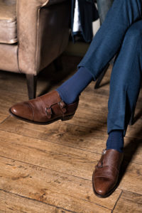 Handmade in Spain brown Imel leather textured double buckle monk strap for men Lamantia by Beatnik Shoes