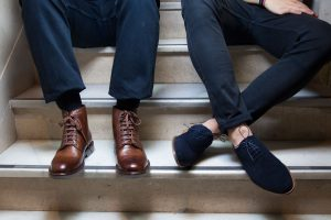 Handmade in Spain brown leather lace up boots Truman and blue suede Oxford Corso by Beatnik Shoes