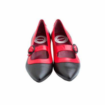 Zapato de salon bicolor rojo y negro con hebilla para mujer Sylvie BR