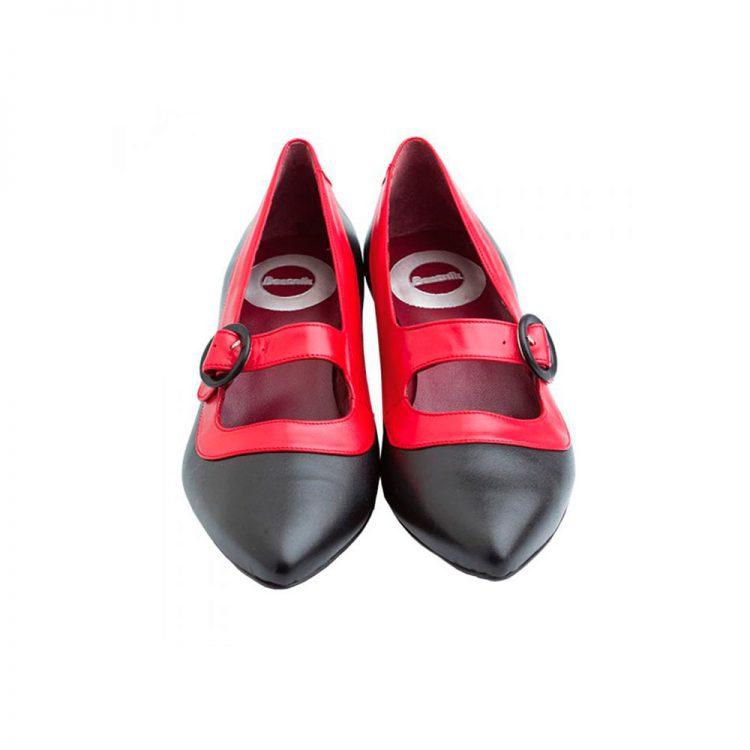 Zapato de salon bicolor rojo y negro con hebilla para mujer Beatnik Sylvie Black & Red