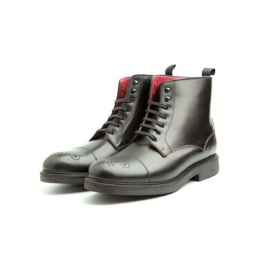 Black Lace-up Boots for men Beatnik Truman Black, Handmade in Spain in calfskin