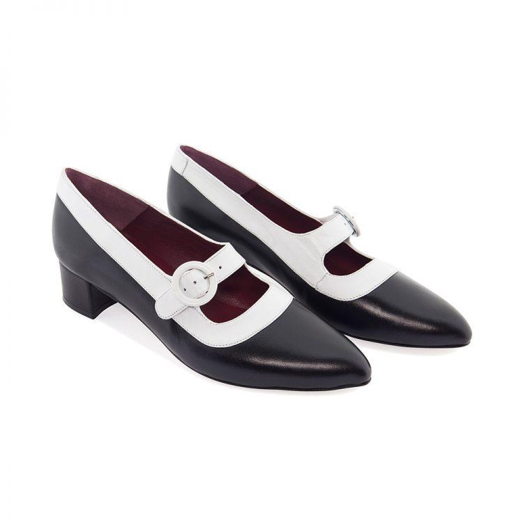 Zapato bicolor blanco y negro de tacón medio hecho a mano en España Sylvie Black & White