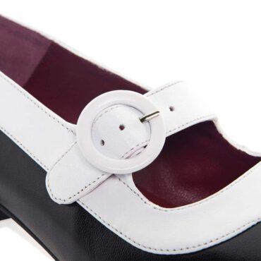Zapato de salón bicolor blanco y negro para mujer Sylvie Pink & Black por Beatnik Shoes
