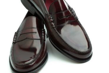 Classic burgundy moccasins for men with sewn leather sole. Beatnik Allen Red Handmade in Spain