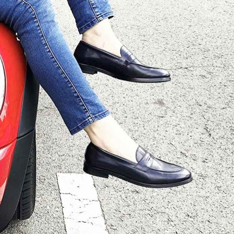 Flat blue leather loafers for women Irma