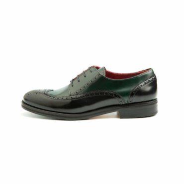 Zapato de mujer Blucher bicolor verde y negro Beatnik Ethel Green on Black