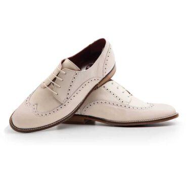 Los zapatos de cordones beige para mujer Ethel hechos a mano por Beatnik Shoes