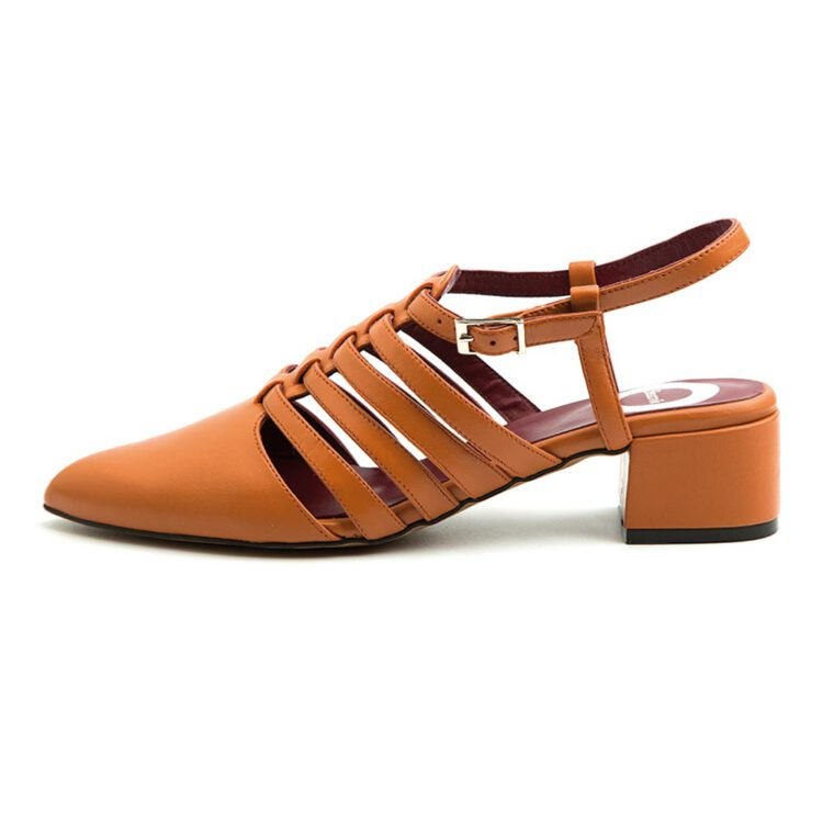 Brown female closed sandal low heeled Francoise Peche by Beatnik Shoes