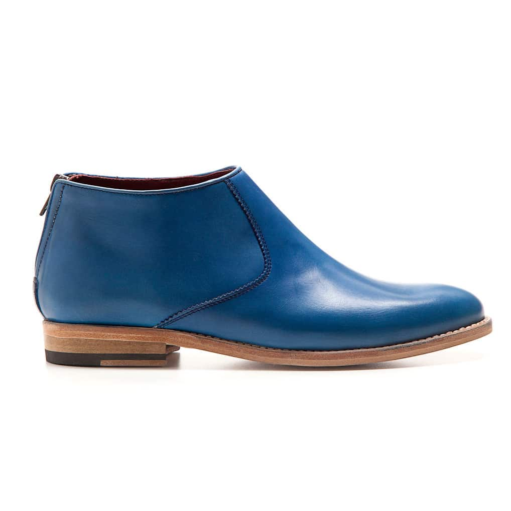 Blue leather Flat ankle boots for women