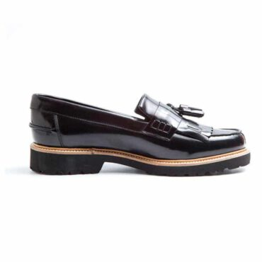 Black Tassel moccasins in genuine leather Beatnik Mary