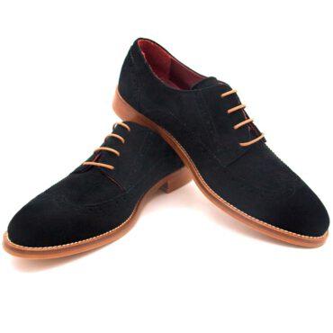 Zapato Brogue con cordones de tacón bajo para mujer en ante negro Ethel Black Suede