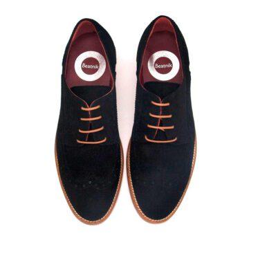 Black suede Derby Shoes flat laces for women Beatnik Ethel Black Suede