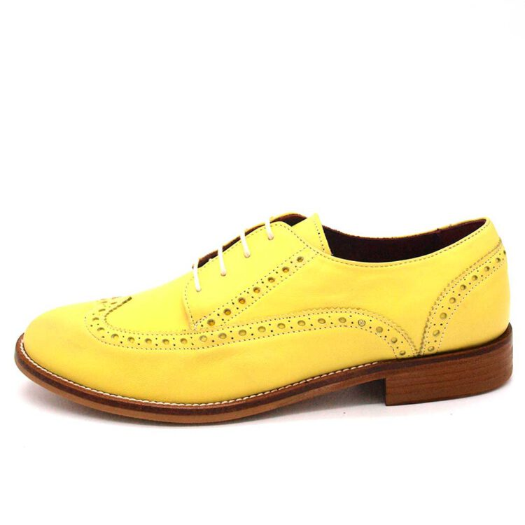 Zapato estilo Oxford de cordones Amarillo de mujer Ethel Lemon Yellow hecho a mano en España por Beatnik Shoes
