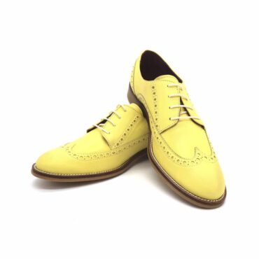 Lemon Yellow Oxford Style Shoes for women Ethel handmade in Spain by Beatnik Shoes
