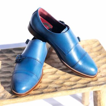 Blue Monk Strap Shoes for women Beatnik June Blue