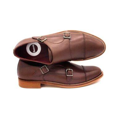 Chaussures de moine marron avec deux boucles pour femmes June Brown. Fabriqué à la main en Espagne par Beatnik Shoes