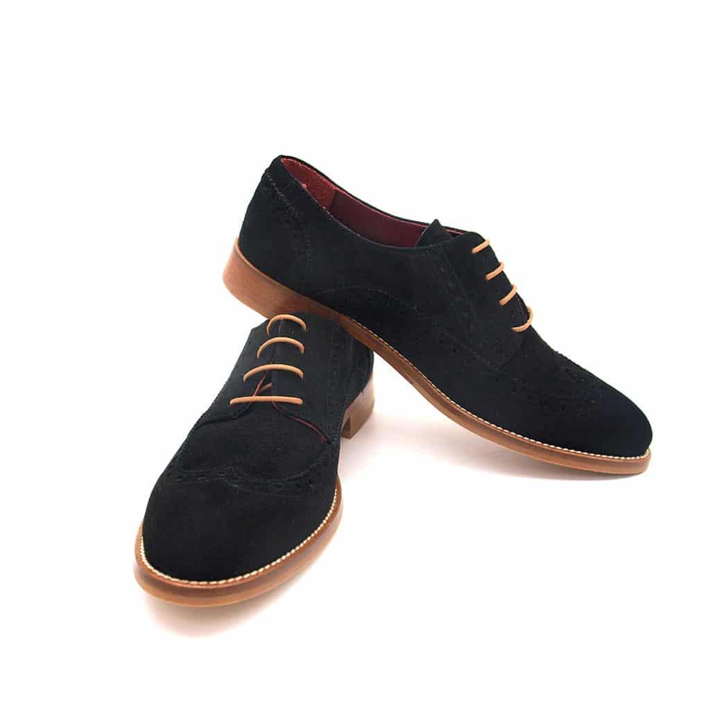 Black suede blucher shoes for women