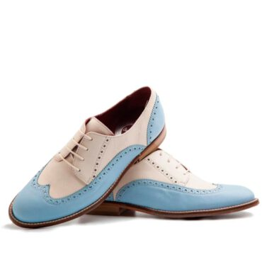 Oxford style two tone shoes for women handmade in Spain Beatnik Ethel Blue Cream