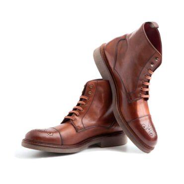 Botas de cordones para hombre en piel marrón Beatnik Truman