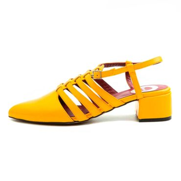 Yellow sandals for women pointy and low heeled Beatnik Françoise Mustard