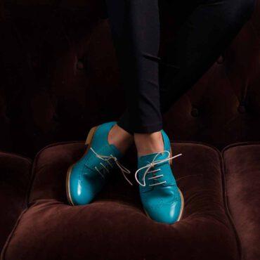 Zapatos de cordones estilo Derby azules de mujer Beatnik Ethel Aqua